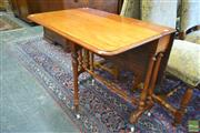 Sale 8255 - Lot 1057 - Victorian Mahogany Pembroke Table, with turned double column supports & stretcher