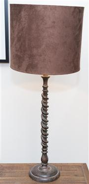 Sale 8308A - Lot 214 - A pair of tall double spiral twist table lamps with chocolate brown velvet shades. Ht. with shade: 84cm
