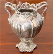 Sale 8338A - Lot 125 - An antique silver plated double handed vase, with pierced collar, H 33cm