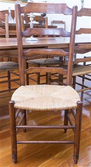 Sale 8530A - Lot 62 - A set of eight maple ladderback chairs on turned legs with double stretchers and six standard chairs, H 109 x W 47 x D 35cm, 2 elbow...