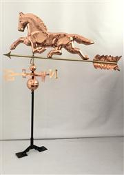 Sale 8772A - Lot 53 - A Copper Horse Weathervane Of Good Quality, With Adjustable Roof Mount, Size 116cm H x 98 cm Widest  / 68 W At Horse