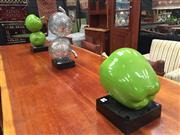 Sale 8889 - Lot 1442 - Collection Of Ceramic Apples On Timber Stand With Metal Example