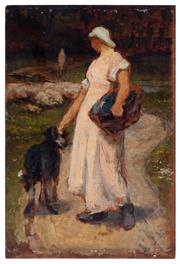 Sale 8994H - Lot 77 - French School, 19th Century - Washer woman with dog, vignettes verso 32 x 21.5cm