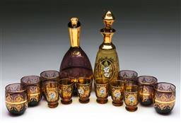 Sale 9144 - Lot 442 - Two gilt trimmed six person drinks suites
