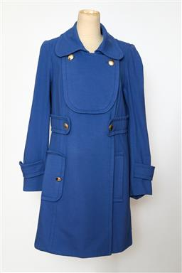 Sale 9095F - Lot 40 - A Sonia Rykiel cotton mix sky blue double breasted coat, 94% cotton, size 42 (12).