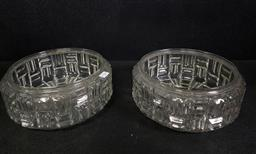 Sale 9254 - Lot 2301 - A pair of art-deco style glass lamp shades (Dia:25cm)
