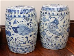 Sale 9260M - Lot 57 - A pair of blue and white Oriental drum stools H 47cm