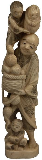 Sale 8008 - Lot 16 - Ivory Carved Chinese Figure Group