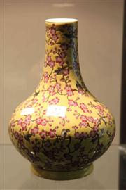 Sale 8047 - Lot 34 - Chinese Cherry Blossom Vase on a Yellow Ground