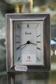 Sale 8327 - Lot 9 - English Hallmarked Sterling Silver Harrods Clock