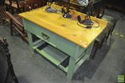 Sale 8337 - Lot 1025 - Single Drawer Painted Table with Pine Top