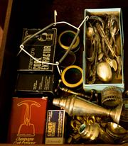 Sale 8418A - Lot 81 - A drawer full of useful dinner wares including cork extractors, knife rests, EP cutlery etc