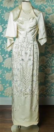 Sale 8420A - Lot 12 - A beautiful 1940s vintage silk satin embroidered/beaded wedding dress featuring silver thread embroidery diamante and beaded detail...