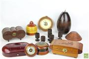 Sale 8486 - Lot 79 - Camphor Wood Jewellery Box with Other Timber Wares inc Barometers