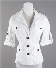 Sale 8493A - Lot 31 - A Diane Von Furstenberg white cotton 3/4 sleeve jacket with leather buttons, US size 6