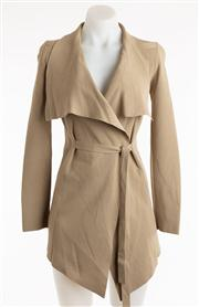 Sale 8640F - Lot 37 - A Scanlan Theodore finely knit unstructured wrap jacket in taupe viscose, size M