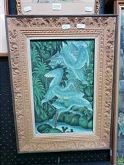 Sale 8645 - Lot 2019 - 2 Works: Balinese Oil Painting of Birds & Lithograph of Paris