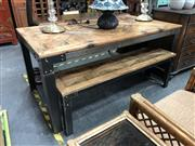 Sale 8854 - Lot 1029 - Industrial Metal Table with Timber Top w/ Matching Bench