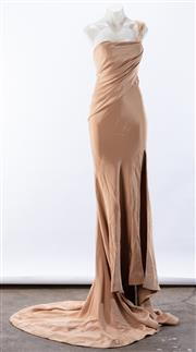 Sale 8910F - Lot 44 - A nude satin one-shouldered evening gown, approx size 6