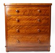 Sale 8960J - Lot 39 - An antique English satin walnut 5 drawer chest C: 1880. The upper half drawers on 3 full length drawers, the bottom a deeper blanket...
