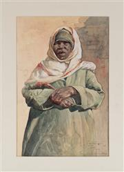 Sale 8994H - Lot 27 - Artist Unknown - African lady in traditional garb 41 x 27.5cm