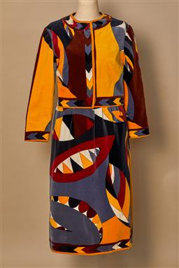 Sale 9093F - Lot 1 - A Rare Vintage Emilio Pucci 2 piece Velvet Cropped Long Sleeve Jacket , Knee length Skirt in geometric print in contrasting yellow,...