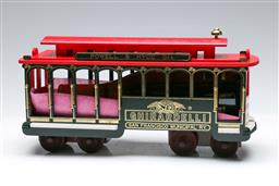 Sale 9098 - Lot 245 - Ghirardelli model cable car containing a Pinot Gris (L:38cm)