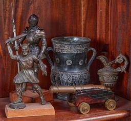 Sale 9103H - Lot 21 - A small group of warrior themed wares including armoured fighters, Greek vessels and canon. tallest height 25cm