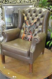 Sale 8156 - Lot 1022 - Brown Leather Wing Back Armchair