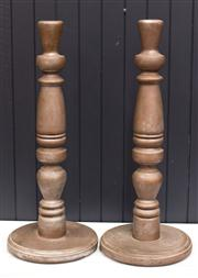 Sale 8287A - Lot 9 - A pair of turned timber vintage Candlesticks with soft bronze painted finish. (possibly cedar) 63cm high x 26cm wide (base)