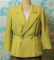 Sale 8420A - Lot 71 - An exquisite golden lime woollen Valentino jacket, featuring pleated waistline creating a very flattering design with two large fron...
