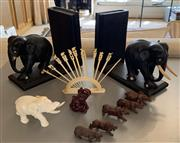 Sale 8510A - Lot 63 - A pair of carved elephant book ends (A/F) together with assorted miniature carved safari animals and a set of cocktail sticks