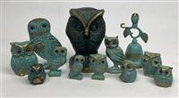 Sale 8725A - Lot 34 - A group of bronze owl items including figurines, bell etc with turquoise finish.
