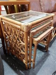 Sale 8740 - Lot 1104 - Nest of Cane Side Tables with Glassed Tops