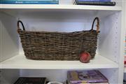 Sale 8825A - Lot 24 - Woven vine basket with a cricket ball