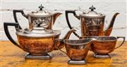 Sale 8942H - Lot 21 - A five piece silver plated tea, coffee milk, sugar and hot water by Hecworth