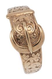 Sale 9029 - Lot 343 - A VINTAGE 9CT GOLD BUCKLE RING; 11mm wide scroll engraved tapering band with buckle decoration, hallmarked P&G, Birmingham 1970, siz...