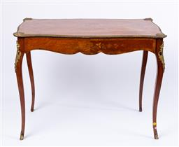 Sale 9135H - Lot 141 - An antique Louis the XV style bronze mounted marquetry side table. 74cm Height, 98cm Width, 58cm Depth