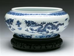 Sale 9144 - Lot 231 - Blue and white Chinese bowl on timber stand (Dia:27cm)