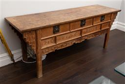 Sale 9160H - Lot 48 - An antique Chinese elm sideboard with three drawers with metal hardware and carved panelled decoration, Height 86cm x Width 222cm x...