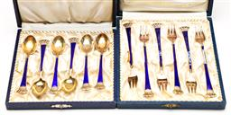 Sale 9238 - Lot 21 - A set of six Danish 925 silver teaspoons with blue enamel handles (L:10cm) together with a matching set of six fruit forks with some...