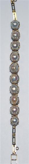 Sale 7626 - Lot 36 - A 22CT GOLD PEARL BRACELET;