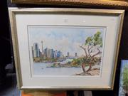 Sale 8429A - Lot 2039 - Val Reed Hughes - Sydney City View, watercolour, 34.5 x 50cm, signed lower right