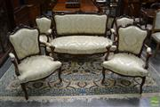 Sale 8500 - Lot 1004 - French Louis XV Style Carved Walnut Parlour Suite, comprising settee, two arm- & four side chairs, upholstered in light green damask...