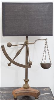 Sale 8530A - Lot 269 - An interesting pair of bedside lamps in the form of pendulum scales with black box form shades
