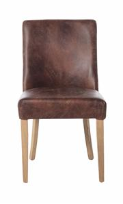 Sale 8651A - Lot 37 - A set of 8 top grain waxed leather dining chairs with light cherry wood legs, H 99 x W 74 x D 49cm