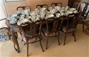 Sale 8510A - Lot 64 - An extension dining table and eight chairs in the queen Anne style with floral upholstery, table H 76 x W 190 (extended) x D 86cm  (...
