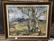 Sale 8776 - Lot 2097 - Sally Bennett - Bush Scene oil on board, 45 x 55cm (frame) signed lower right -