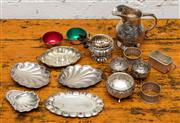 Sale 8942H - Lot 24 - A quantity of small silver plated table wares comprising cream jug, napkin rings, coffee spoons, salts and sundry small dishes