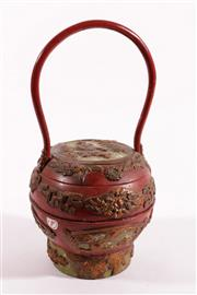 Sale 9010D - Lot 736 - Red Chinese Container With Hoop Handle H:33cm